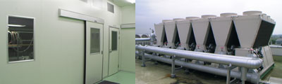 Clean room (Left), Module chiller (Right)