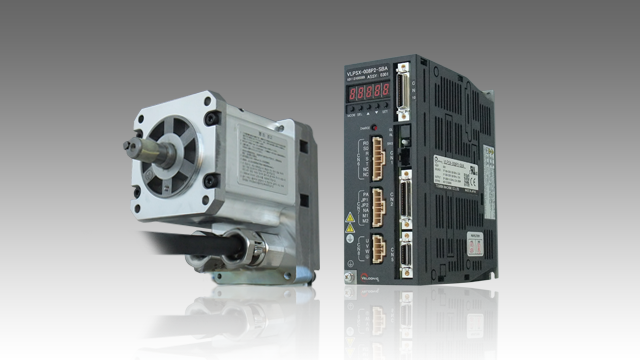 Small-sized Explosion-proof AC Servo Motor, 200W type (left) and its exclusive Amplifier for 200W (right)